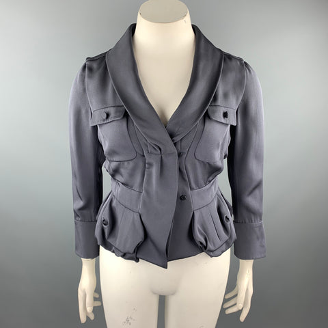 VALENTINO Size 10 Grey Silk Pleated Waist Blazer