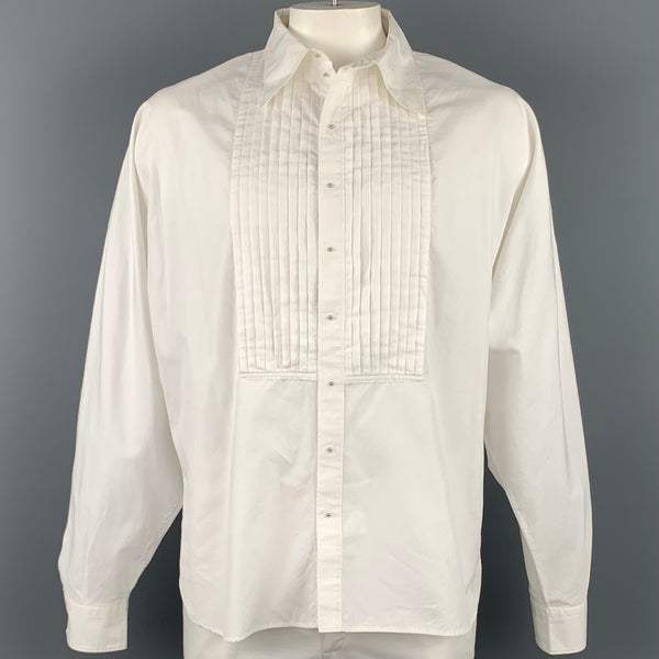 Vintage JEAN PAUL GAULTIER Size XL White Cotton Wing Sleeve Pleated Long Sleeve Shirt