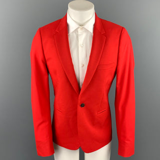 PAUL SMITH Size 40 Red Wool Notch Lapel Sport Coat