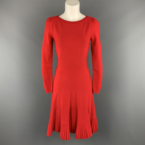 VALENTINO Size S Red Knit long Sleeve Pleat Flare Skirt Dress