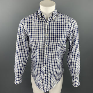 BRUNELLO CUCINELLI Size XS White & Navy Plaid Cotton / Linen Long Sleeve Shirt