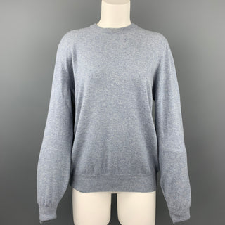 BRUNELLO CUCINELLI Size 14 Blue Cashmere Suede Crew-Neck Sweater