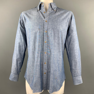 HAMILTON Size XL Blue Chambray Button Down Long Sleeve Shirt