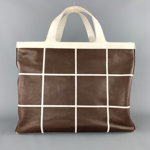 RALPH LAUREN Brown & White Window Pane Print Tote Handbag
