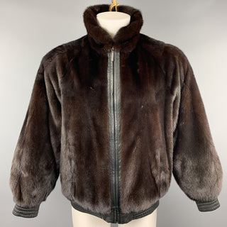 NEIMAN MARCUS Size M Brown Fur & Black  Leather Reversible Jacket