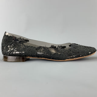 MARC JACOBS Size 7.5 Black Lace Acetate Flats