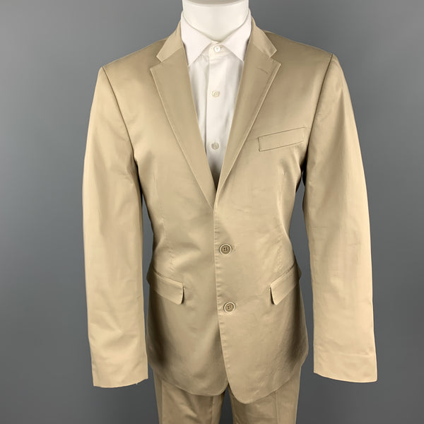 TOMMY HILFIGER Size 41 Khaki Cotton Stretch Notch Lapel  Suit