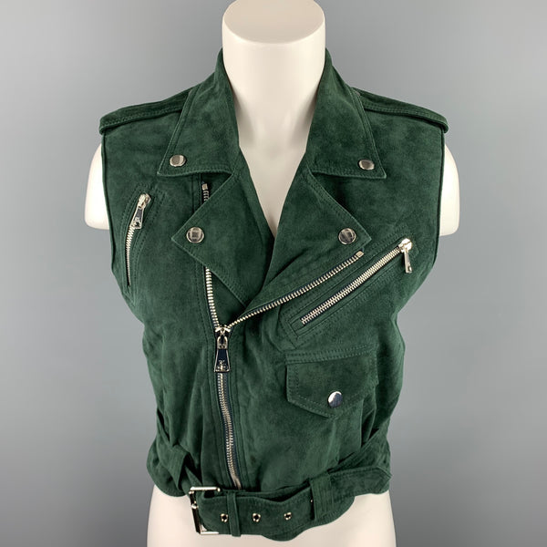 RALPH LAUREN COLLECTION Size 8 Forest Green Suede Biker Vest