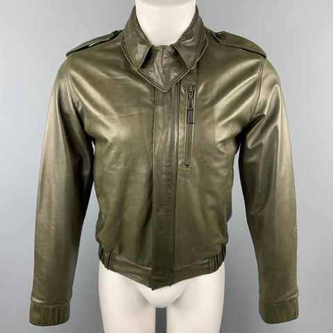 KRIS VAN ASSCHE Size S Olive Leather Pleated Zip Up Jacket