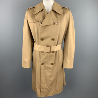 AQUASCUTUM Size XL Khaki Cotton / Polyester Belted Double Breasted Trenchcoat