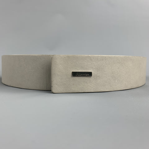 CALVIN KLEIN Size 32 Light Gray Leather Belt
