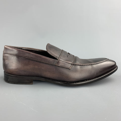 TO BOOT NY Size 10.5 Brown Antique Leather Slip On Loafers