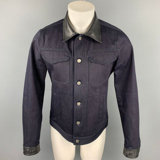 BOTTEGA VENETA Size 40 Indigo Selvedge Denim Trucker Jacket