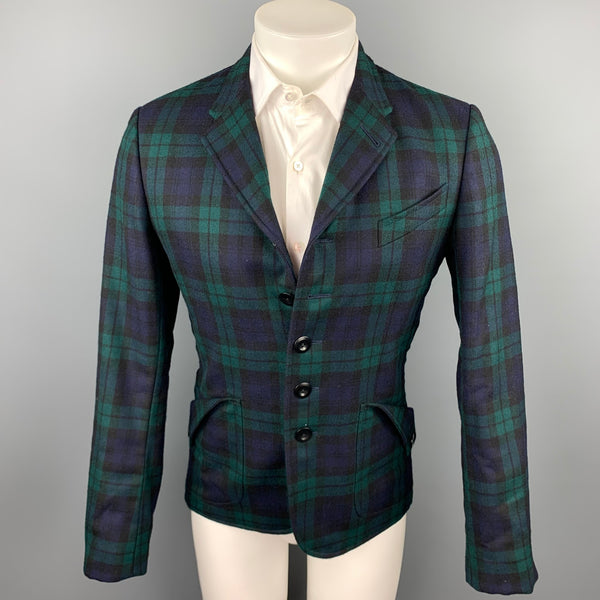 PAUL SMITH Size S Blackwatch Plaid Wool Notch Lapel Jacket
