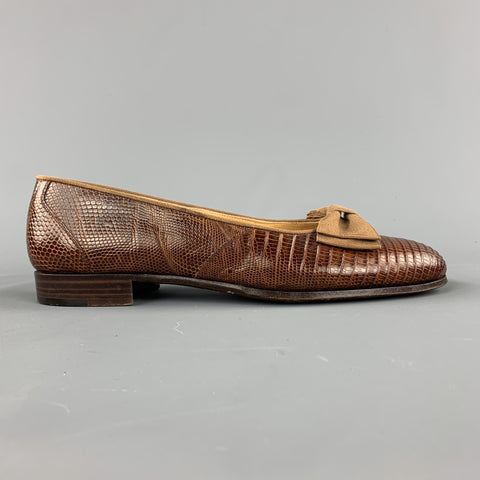 RALPH LAUREN Size 8.5 Brown Textured Bow Slip On Loafers