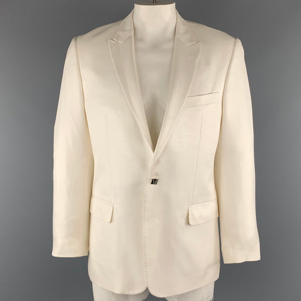 VERSACE -COLLECTION Chest Size 44 Off White Textured Silk Peak Lapel Sport Coat