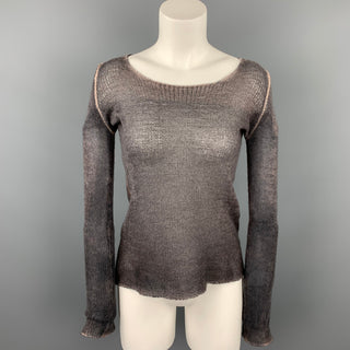 AVANT TOI Size S Grey & Purple Knitted Cashmere Scoop Neck Pullover