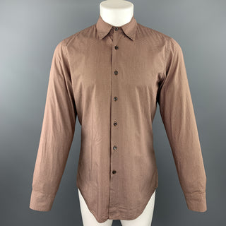 PRADA Size S Brown Dotted Print Cotton Button Up Long Sleeve Shirt