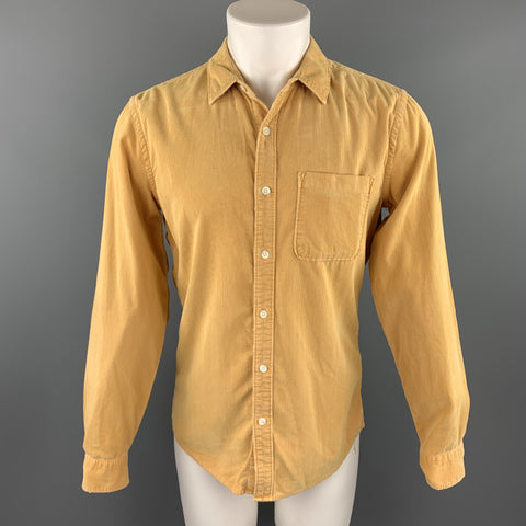 FRAME Size S Yellow Corduroy Button Up Long Sleeve Shirt