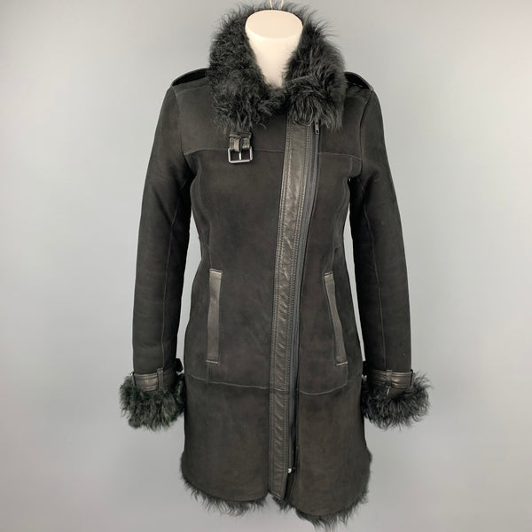 THEORY Size Petite Black Shearling Epaulettes Zip Up Coat