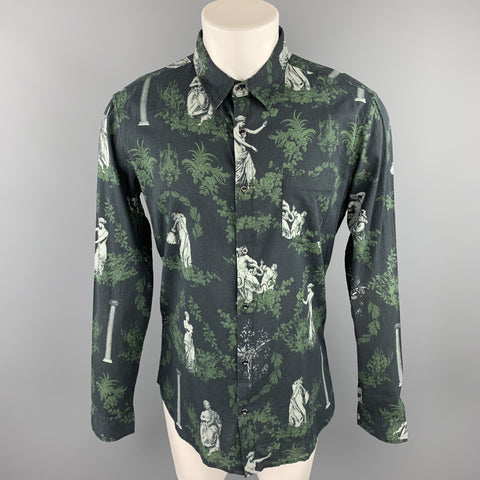OSKLEN Size S Navy & Green Print Cotton Button Up Long Sleeve Shirt