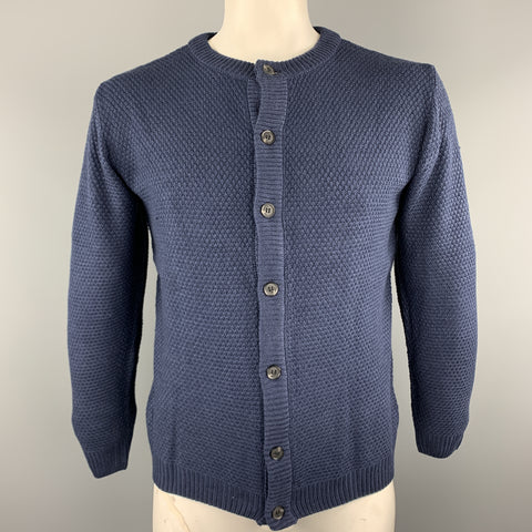 KITON Size L Navy Knitted Cotton Textured Buttoned Cardigan Sweater