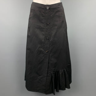 EUDON CHOI Size 2 Black Cupro Blend Buttoned Ruffle Skirt