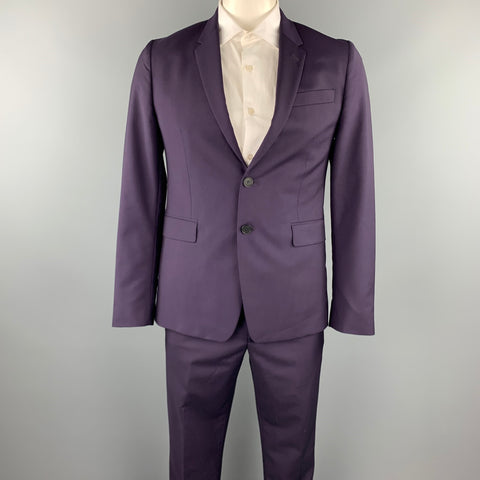 PAUL SMITH Size 40 Regular Eggplant Wool / Mohair Notch Lapel Suit