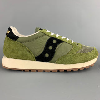 SAUCONY Size 10 Olive & Black Suede Trim Lace Up Sneakers