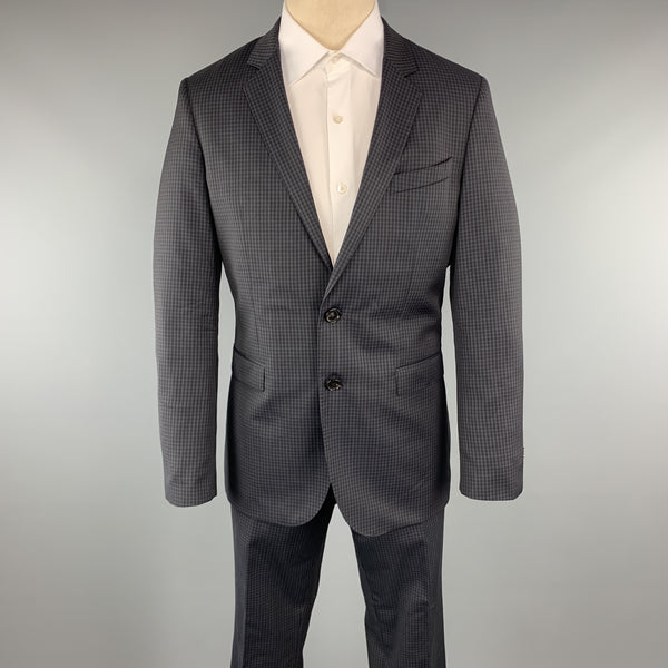 HUGO BOSS Size 40 Plaid Navy Wool 34 x 31 Notch Lapel Suit