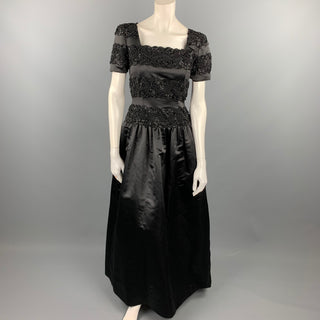Vintage OSCAR DE LA RENTA Size 4 Black Beaded Satin Polyester Evening Gown