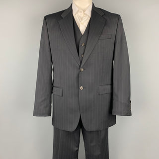 LAUREN by RALPH LAUREN 42 Regular Navy Pinstripe Wool Notch Lapel 3 Piece Suit