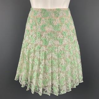 CHRISTOPHER KANE Size 6 White & Green PLeated Silk Skirt