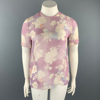 GIORGIO ARMANI Size 10 Light Purple Floral T Shirt Blouse