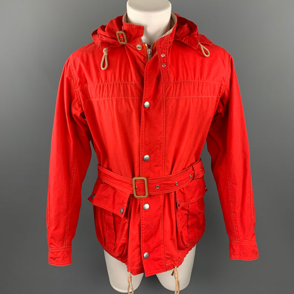 NIGEL CABOURN Size 42 Red Waxed Cotton Zip & Snaps Belted Hooded Jacket