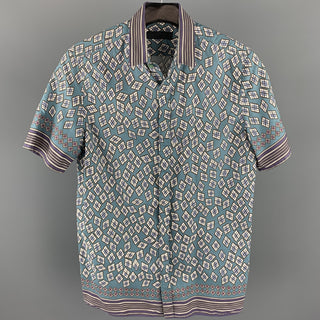 BURBERRY PRORSUM Spring 2013 Size S Teal & Purple Print Cotton Short Sleeve Shirt