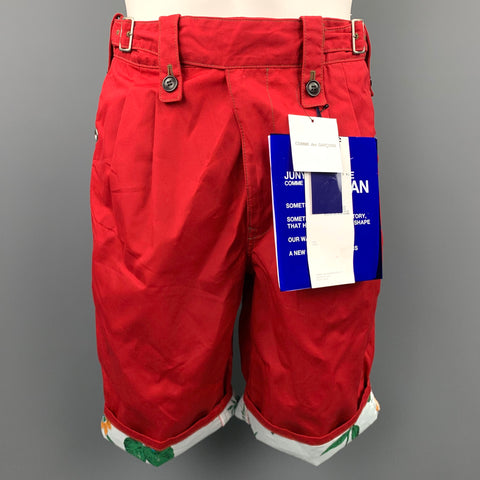 JUNYA WATANABE Size XL Red Polyester Blend Pleated Shorts