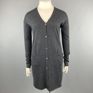 JIL SANDER Size L Charcoal Wool Long Duster Cardigan