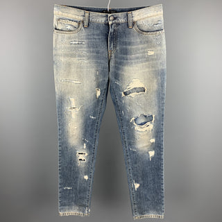 DOLCE & GABBANA Size 32 Indigo Distressed Denim Button Fly Jeans