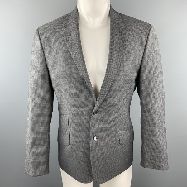 PAUL SMITH The Byard Size 38 Gray Grid Wool Notch Lapel Flap Pockets Sport Coat Jacket