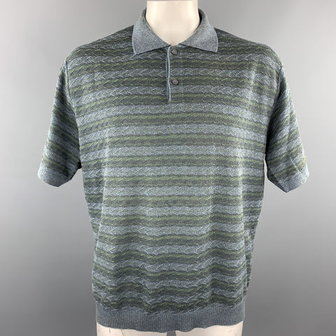 ERMENEGILDO ZEGNA Size XL Blue & Grey Knitted Cotton Buttoned Polo
