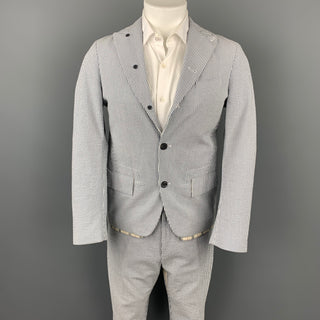WOOSTER + LARDINI Size 38 Blue & White Seersucker Cotton Cropped Peak Lapel Suit