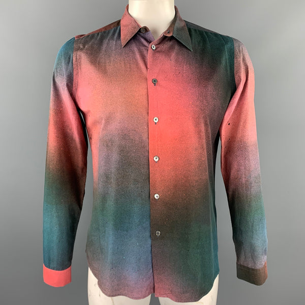 PS by PAUL SMITH Size L Brick & Green Splattered Cotton Long Sleeve Shirt