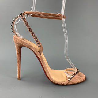CHRISTIAN LOUBOUTIN So Me Spike Size 8 Suede Taupe Ankle Strap Sandals