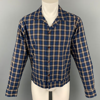 UNIVERSAL WORKS Size L Navy & Brown Plaid Cotton Button Up Long Sleeve Shirt