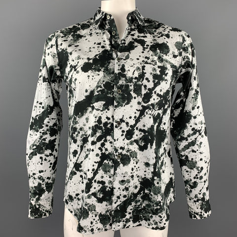 COMME des GARCONS BLACK Size L Black & White Splattered Cotton Long Sleeve Shirt