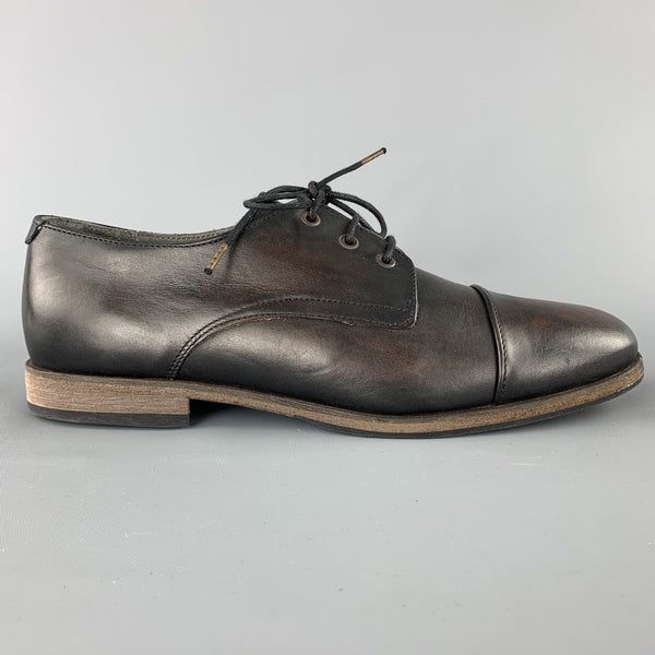 KSUBI Size 11 Brown Antique Leather Lace Up Cap Toe Shoe