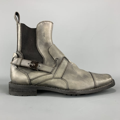 NEIL BARRETT Size 7 Gray Antique Leather Strap Detail Ankle Boots