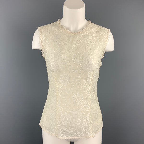 CHRISTIAN DIOR Size M White Lace Polyester Sleeveless Blouse