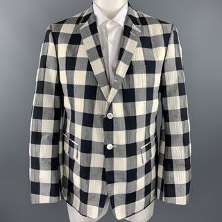 THOM BROWNE Size 40 Regular Black & Beige Checkered Wool Blend Sport Coat